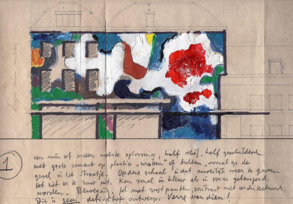 Schets voor gevelbeschildering door Jan Bons, 1976 (Bijzondere Collecties UvA)
