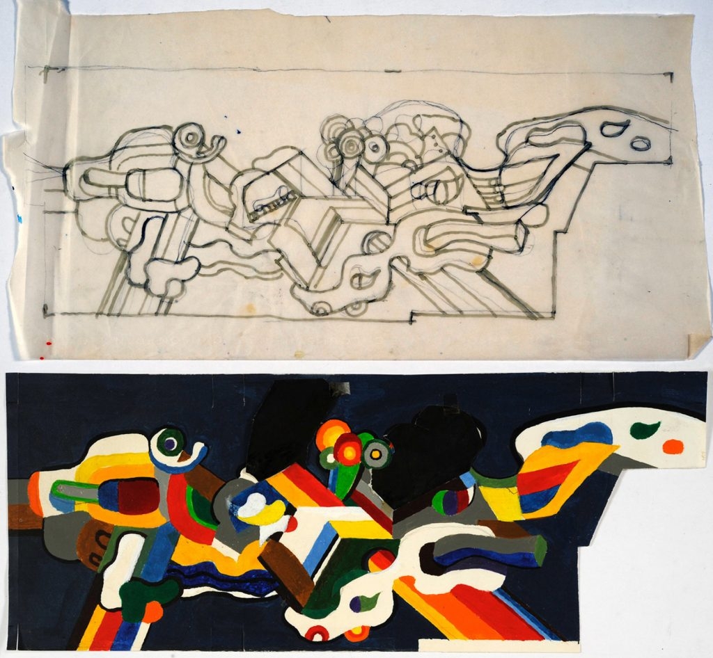 Ontwerptekeningen voor Dixons door Jan Bons, 1977 (Bijzondere Collecties UvA)