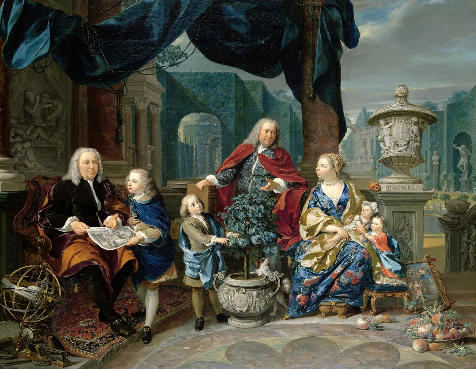 Familie van Mollem op Zijdebalen, Nicolaas Verkolje, 1740 (Rijksmuseum)