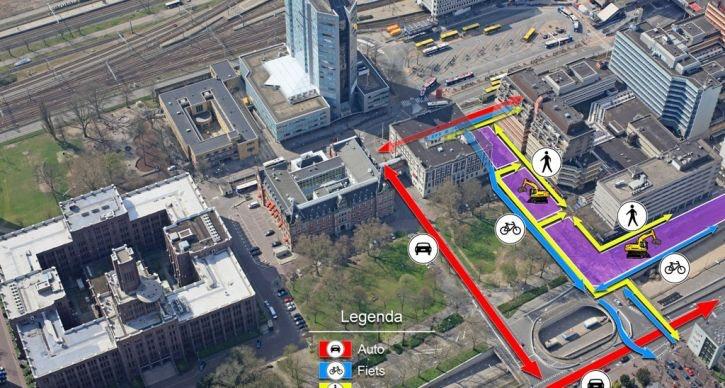 Loop- en fietsroute Station – Mariaplaats aangepast