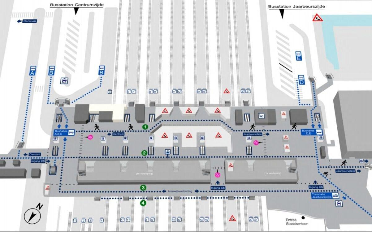 Maandag nieuwe looproute door Centraal Station die niet leuk is
