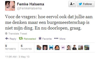tweet femke halsema burgemeester utrecht