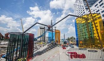 Foto's: Groot kunstwerk Jaarbeursplein in opbouw