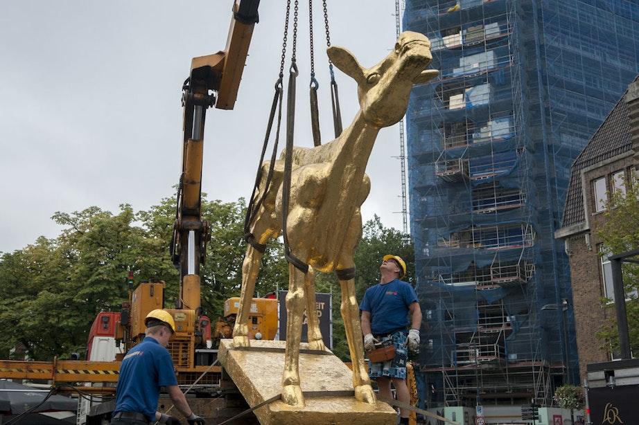 Foto's: Gouden Kalf op Neude onthuld