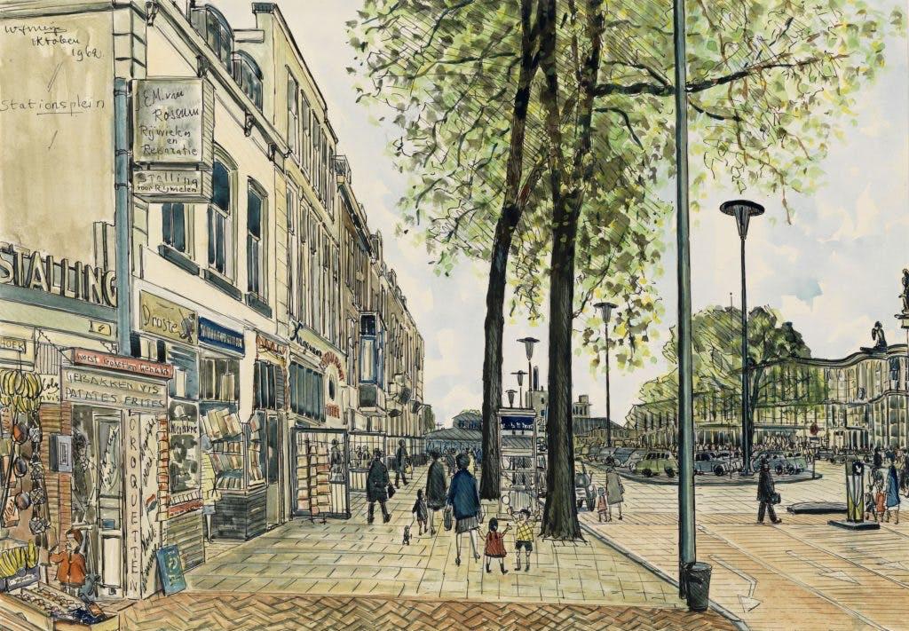 De getekende stad: Het stationsplein in 1962