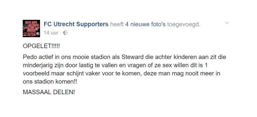 FC Utrecht zet steward op non-actief na het  benaderen van kinderen
