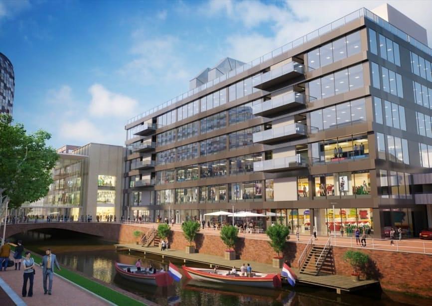 Toekomstbeeld van het vernieuwde V&D-pand aan de Rijnkade. Beeld: IEF Capital/BouwfondsIM (opdrachtgever) en Jan Bakersarchitecten BV. (architect).