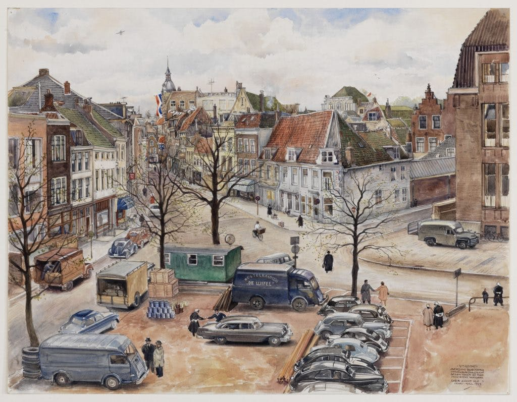 De getekende stad: De Neude, 1957
