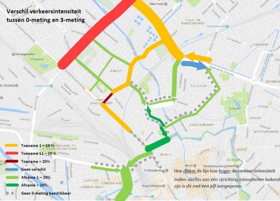 Een kaart met de verkeersintensiteit. Foto: Gemeente.