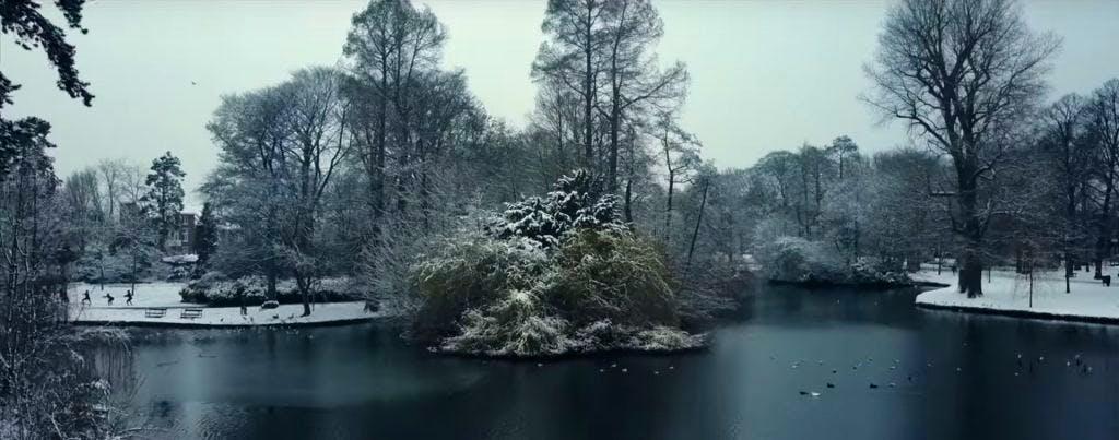 DJ Coen Swijnenberg maakt prachtige video van Wilhelminapark in de sneeuw