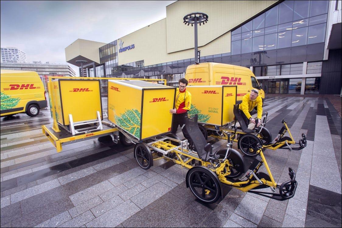 Bezorgservice DHL voortaan met 'cubicycles' door Utrecht