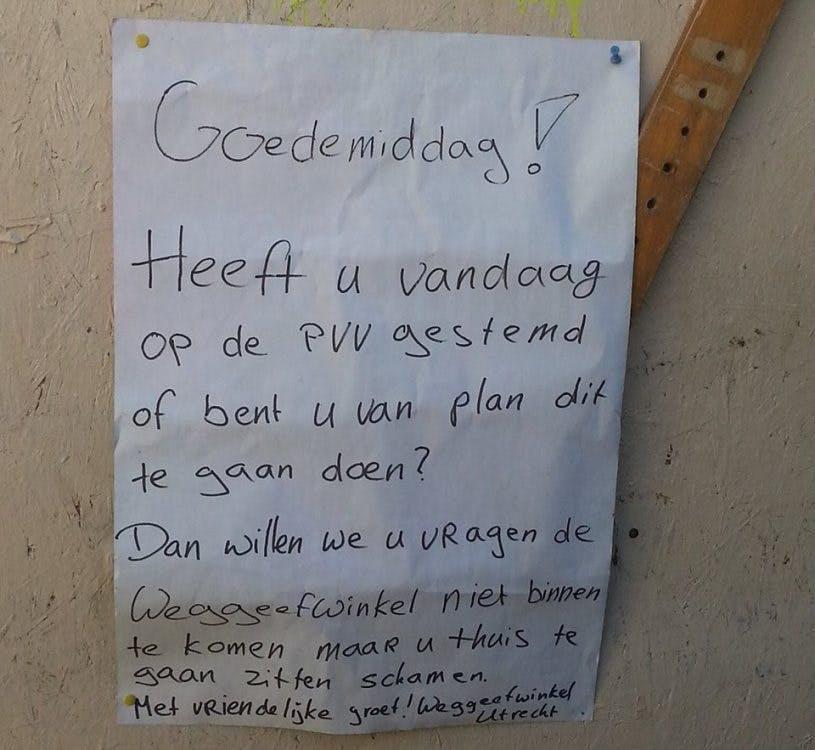 Anti PVV-bericht Weggeefwinkel Utrecht gaat viral