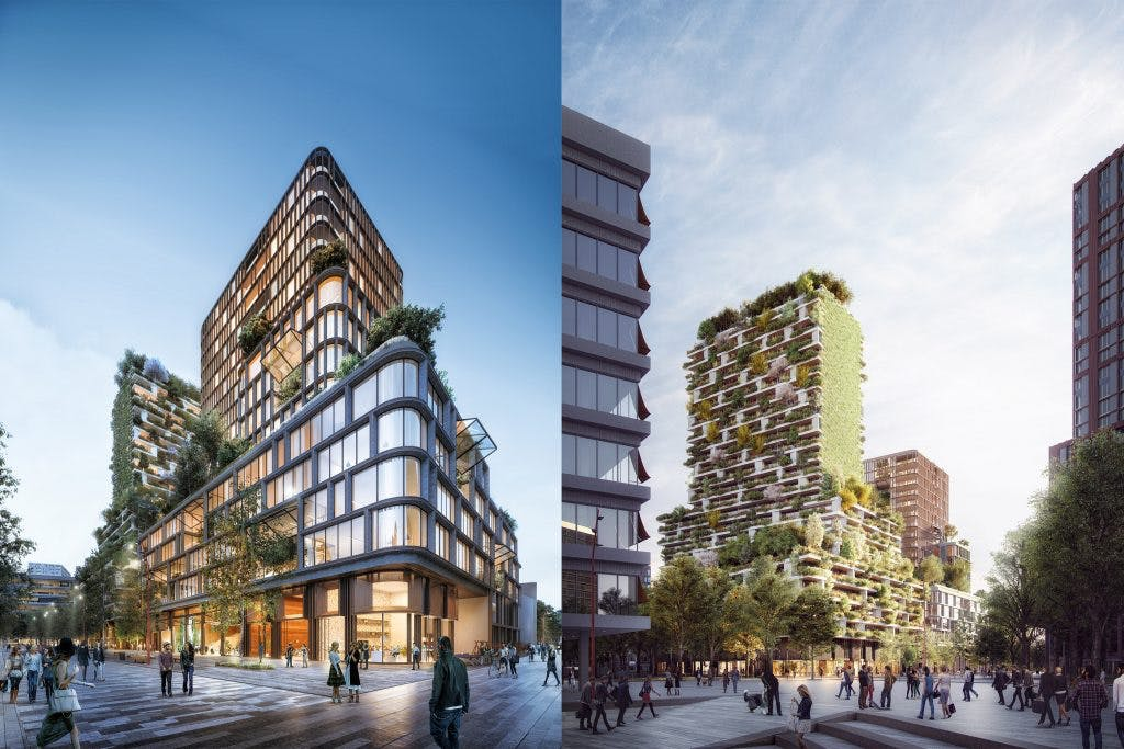Nieuwe aanwinst voor stationsgebied: Wonderwoods, groen gebouw met verticaal bos