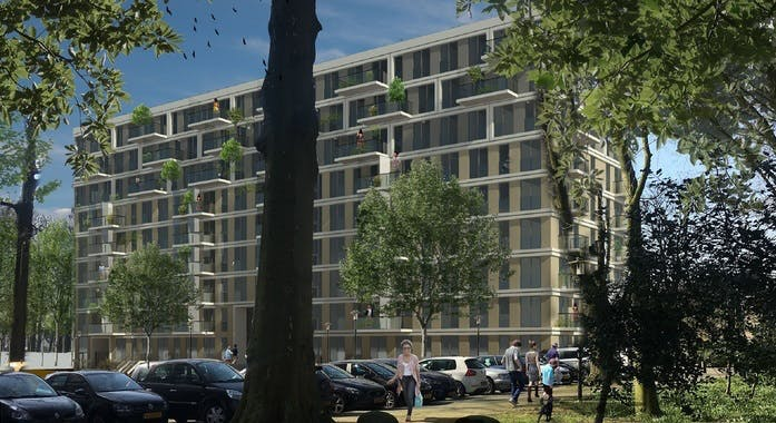 132 appartementen in voormalig gemeentekantoor aan Rachmaninoffplantsoen