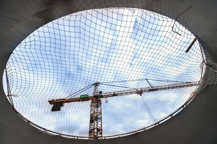Foto's: Reuzendak van Stationsplein in aanbouw