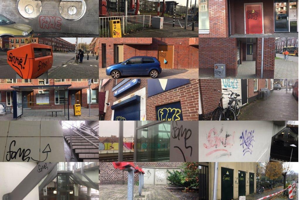 De graffiti-tag 'Fame' is weer terug in Utrecht