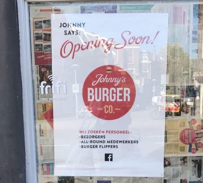Gratis hamburgers bij Johnny's Burger Company aan de Adelaarstraat