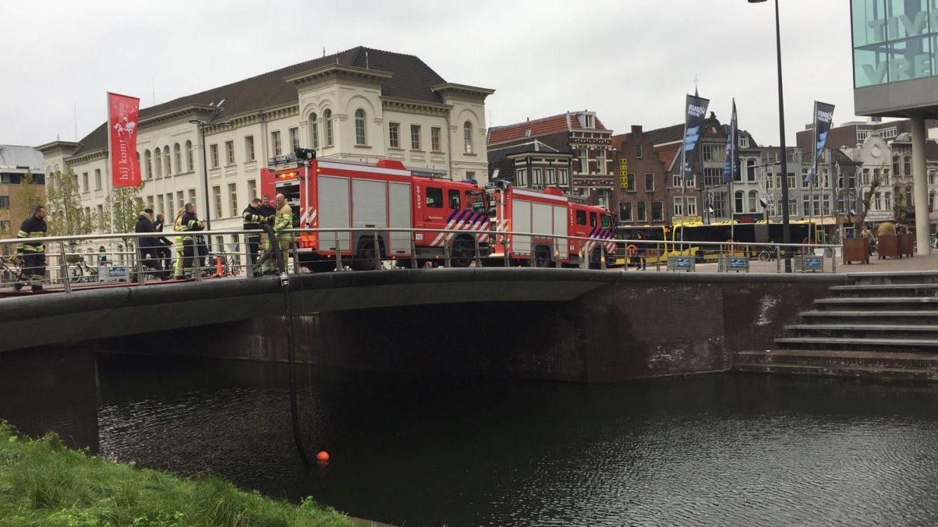 Brandweeroefening Catharijnesingel bij Vredenburg