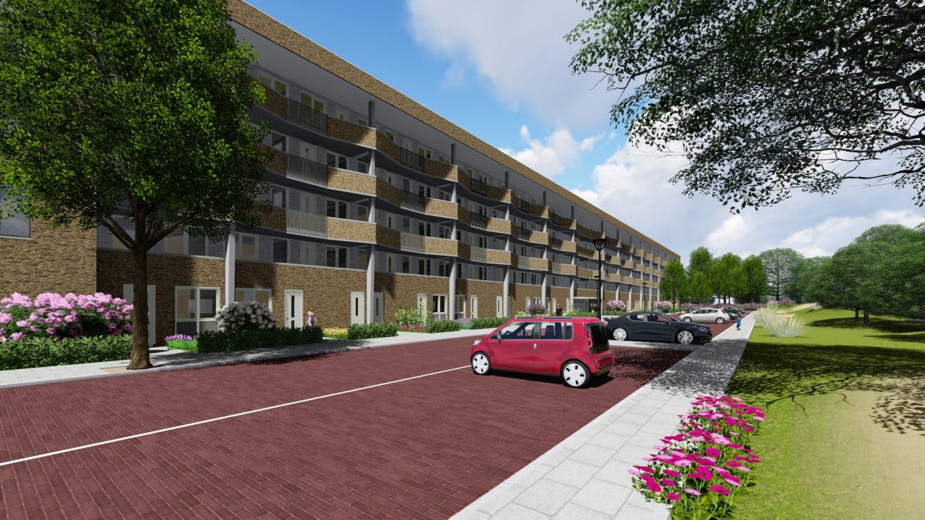 Bouw van 79 sociale huurwoningen aan de Nijeveldsingel in Hoograven gestart