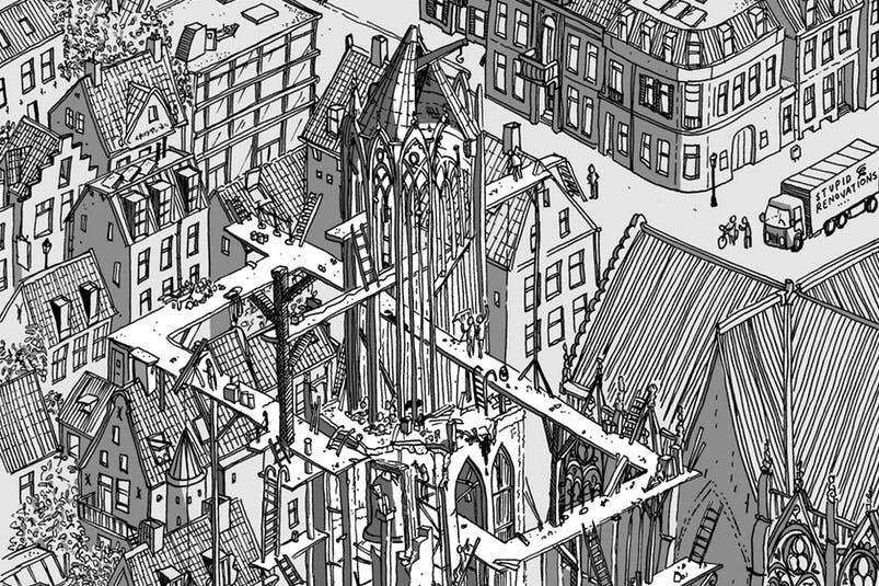 Grafisch kunstenaar maakt tekening van Domtoren met onmogelijke steigers
