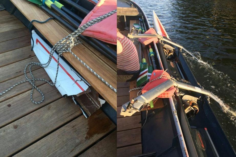 Zwemmer springt vanaf Muntbrug op roeiboot Viking