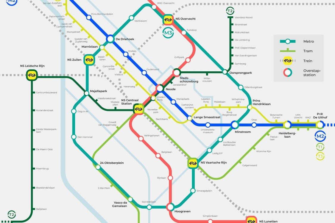 Hoe zou het Utrechtse OV-netwerk eruitzien met tram- en metroverbindingen?