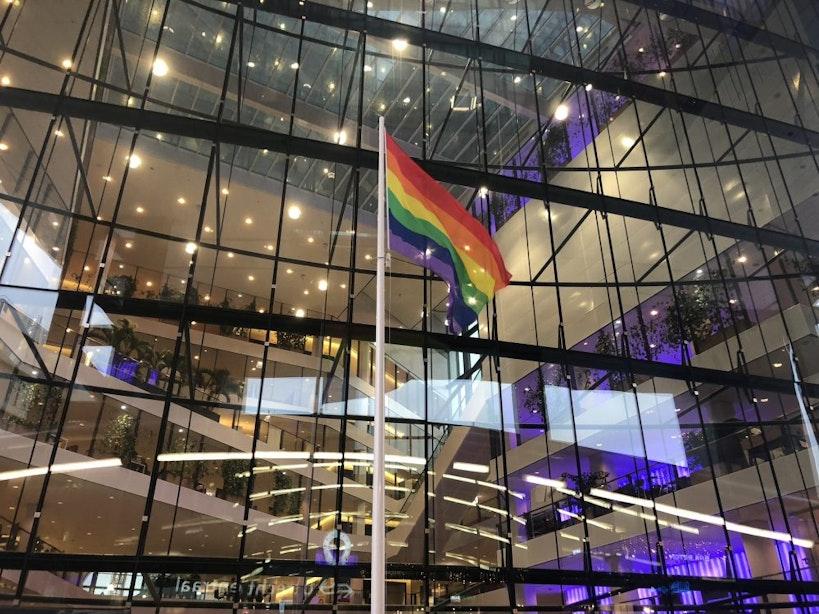 Regenboogvlag gehesen bij stadskantoor tegen Nashville-verklaring