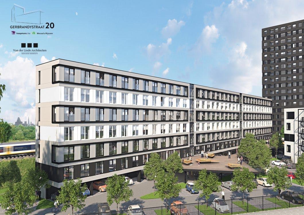 487 appartementen voor starters en studenten op plek belastingkantoor Gerbrandystraat