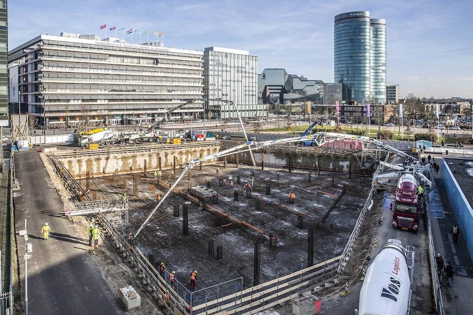 Al honderden ladingen beton gestort bij mega-operatie Galaxy Tower in Utrecht