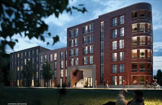 Er komt een blok met 97 huurwoningen en een binnentuin in Hoge Weide