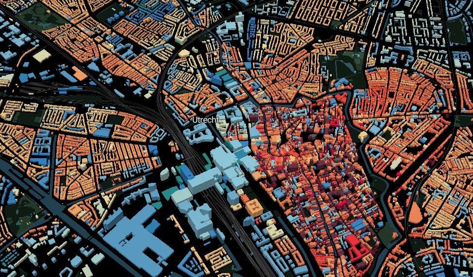 Bekijk op deze 3D-kaart de bouwjaren van alle Utrechtse gebouwen