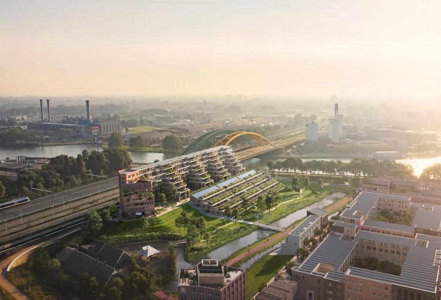 Groot terrassengebouw met 144 woningen naast Gele Brug in Utrecht