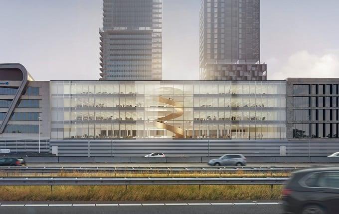 Nieuw kantoorgebouw van 10.000m2 langs de A2 met bijzondere trap