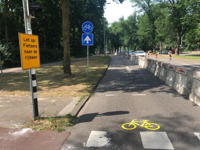 Rijbaan Brailledreef wordt tijdelijk fietspad om fietsers meer ruimte te bieden
