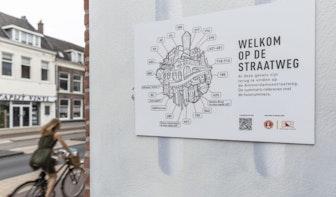 Deze gebouwen zijn te zien in het kunstwerk van JanIsDeMan aan de Amsterdamsestraatweg