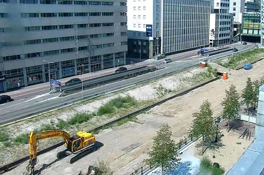 Webcams laten werk aan laatste stuk singel in Utrecht zien