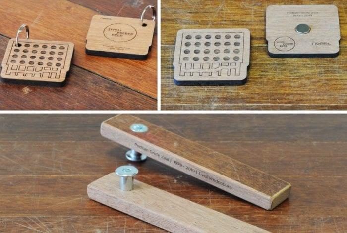 Historisch TivoliVredenburg-hout wordt gebruikt voor flesopeners en magneten