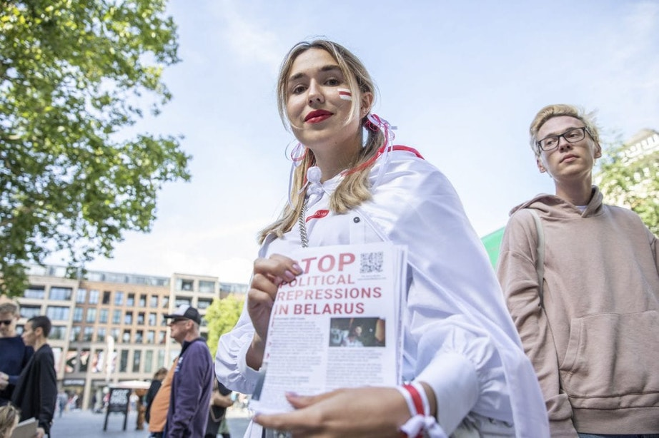 Protest tegen de Wit-Russische president Loekasjenko op Vredenburg in Utrecht