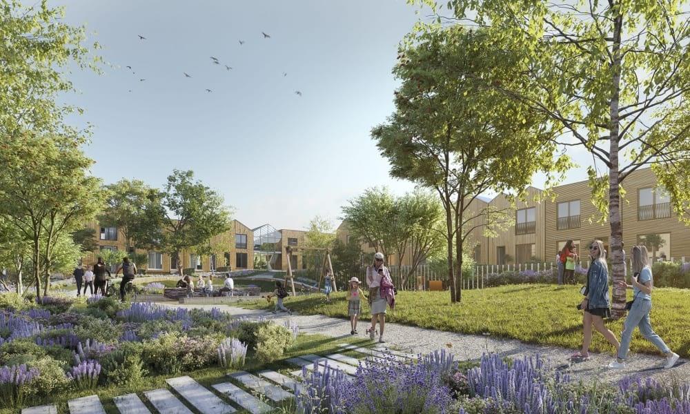 Nieuw buurtje in het Utrechtse Leeuwesteyn met 44 woningen krijgt binnentuin met eigen kas