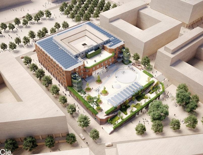Nieuwe school, sporthal en openbaar dakplein in één: zo ziet het nieuwste gebouw aan het Berlijnplein eruit