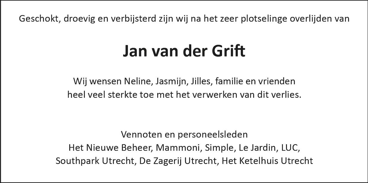 Kennisgeving van overlijden Jan van der Grift