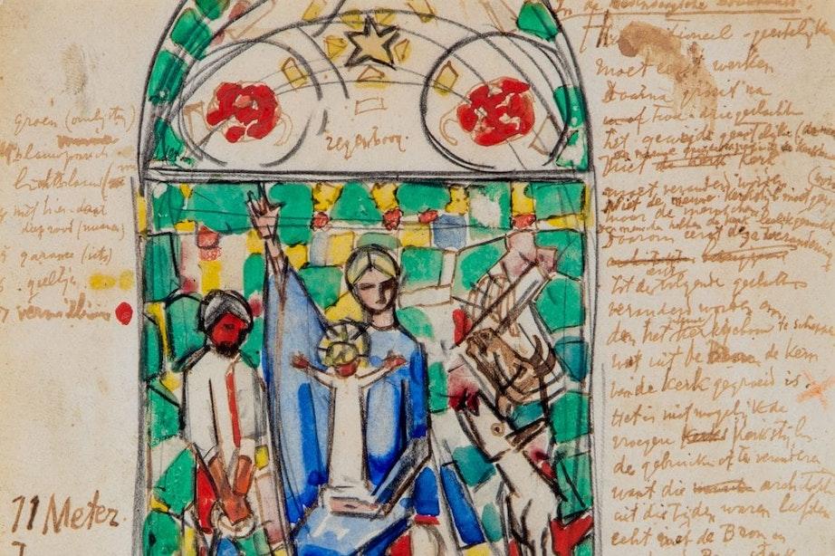 Centraal Museum koopt schets van glas-in-loodraam Domkerk gemaakt door Jan Toorop