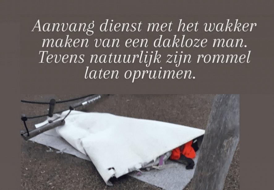 Politie Utrecht krijgt 'veel vragen' na publiceren van een foto van een dakloze