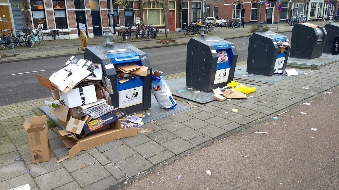Een dag uit het leven van een papiercontainer in Utrecht: vol, voller, volst