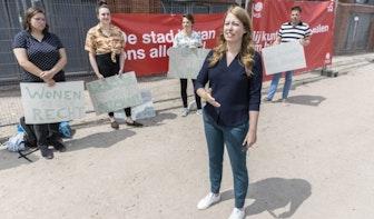 Demonstratie voor betaalbare woningen bij Wilhelminawerf in Utrecht