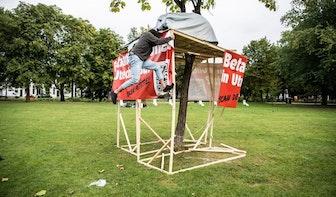 Ime zit al drie dagen in boomhut in park Lepelenburg; oproep om petitie voor referendum te tekenen